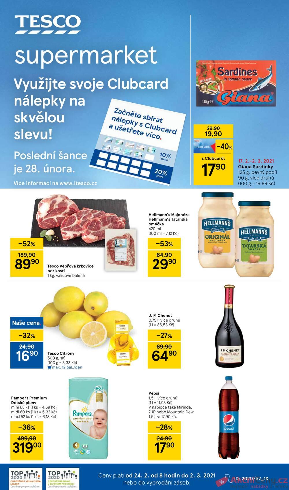Leták Tesco - Tesco supermarkety od 24.2. do 2.3.2021 - strana 1