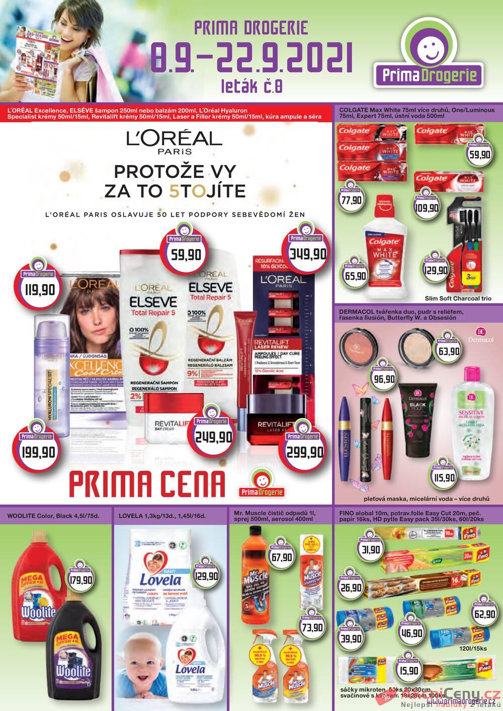 Leták Prima Drogerie - Prima drogerie  od 8.9. do 22.9.2021 - strana 1
