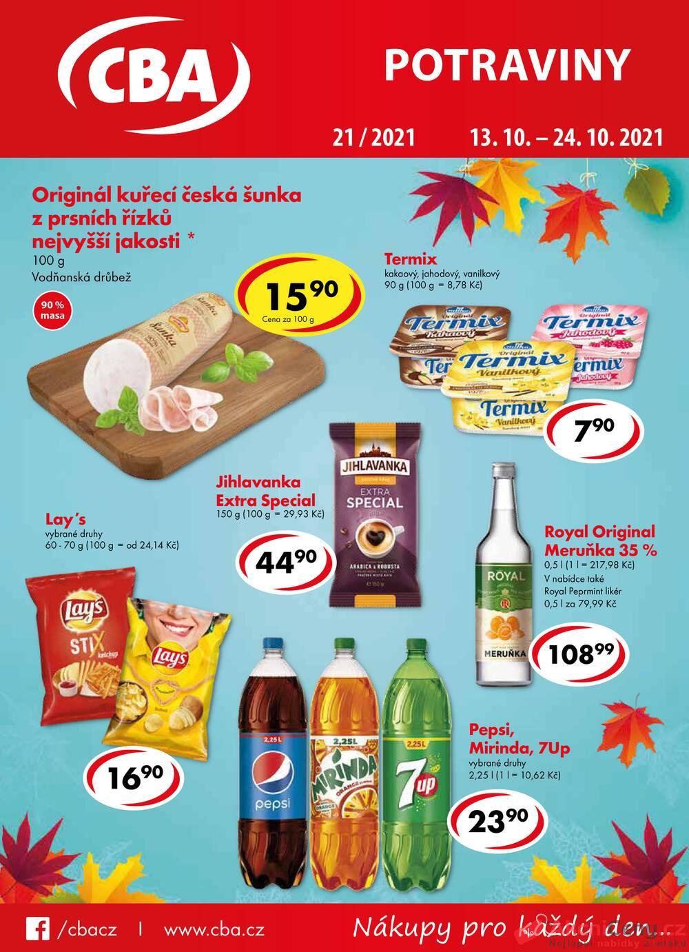 Leták CBA prodejní družstvo - CBA potraviny od 13.10. do 24.10.2021 - strana 1