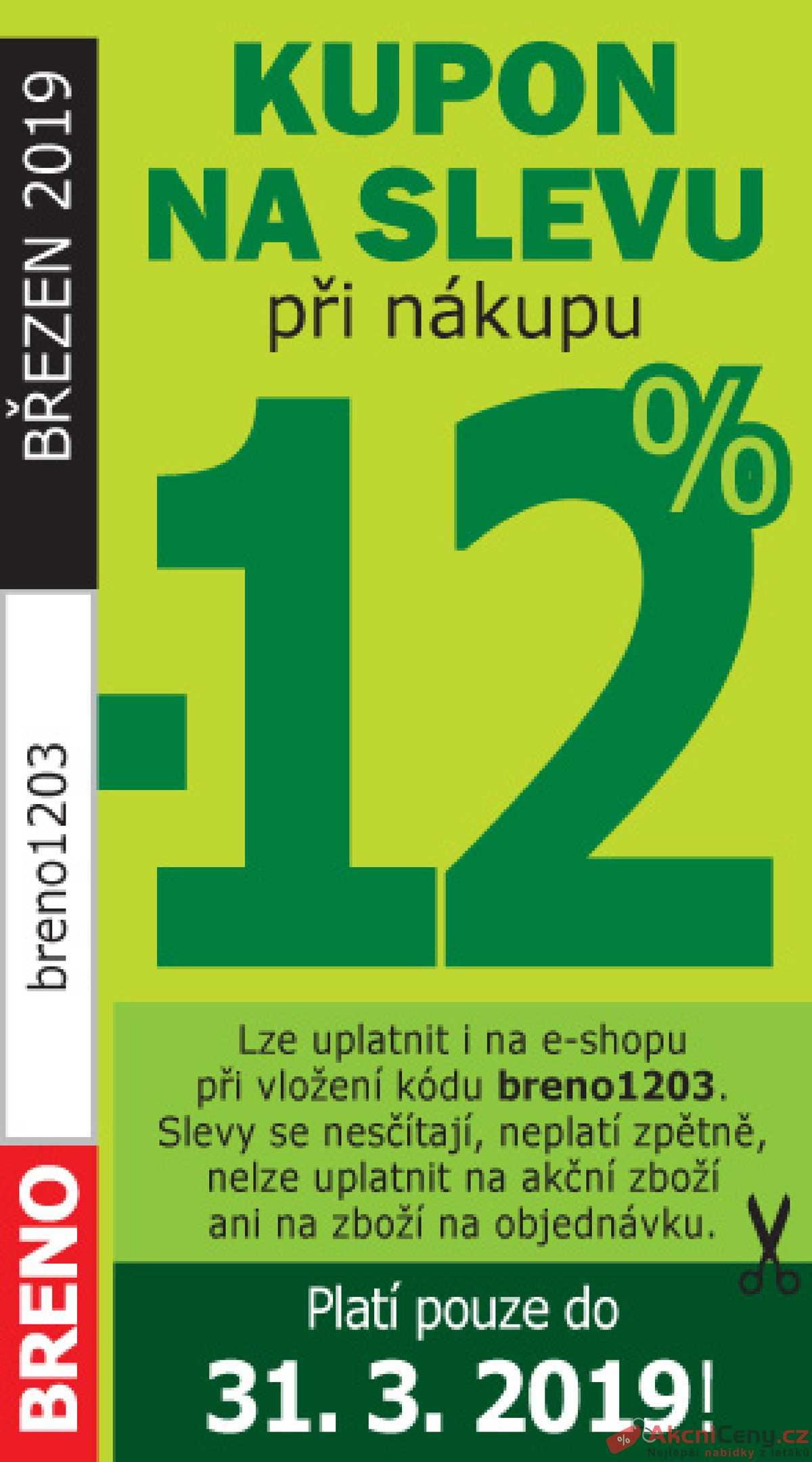 Leták Koberce BRENO - Koberce Breno kupon 1.3. - 31.3. - strana 1