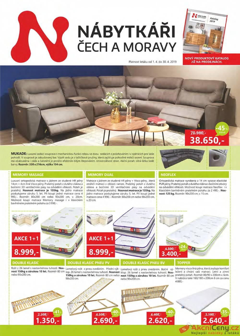 Leták Nábytkáři Čech a Moravy - Nábytkáři Čech a Moravy 1.4. - 30.4. - strana 1