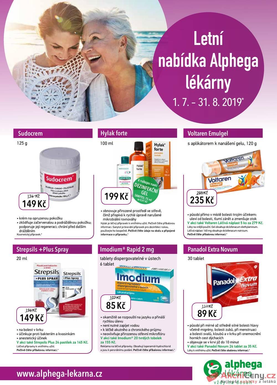 Leták Alphega Lékárna - Alphega Lékárna od 1.7. do 31.8.2019 - strana 1