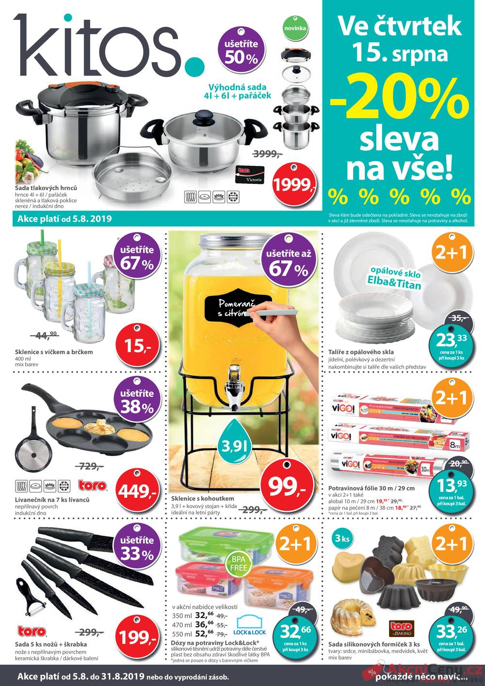 Leták Kitos s.r.o. - Kitos od 5.8. do 31.8.2019 - strana 1