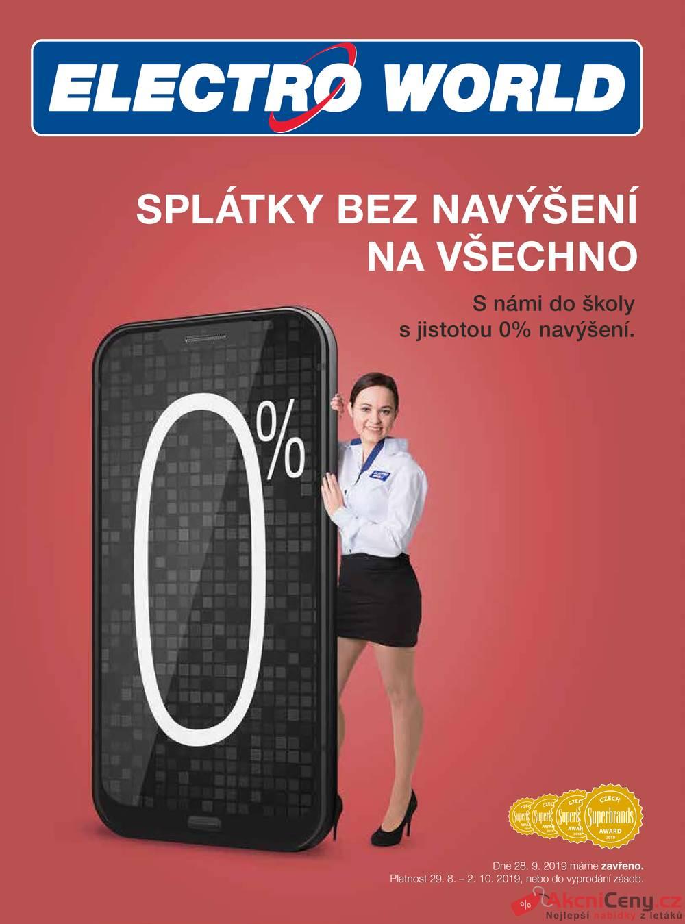 Leták Electro World - Electro World  od 29.8. do 2.10.2019 - strana 1