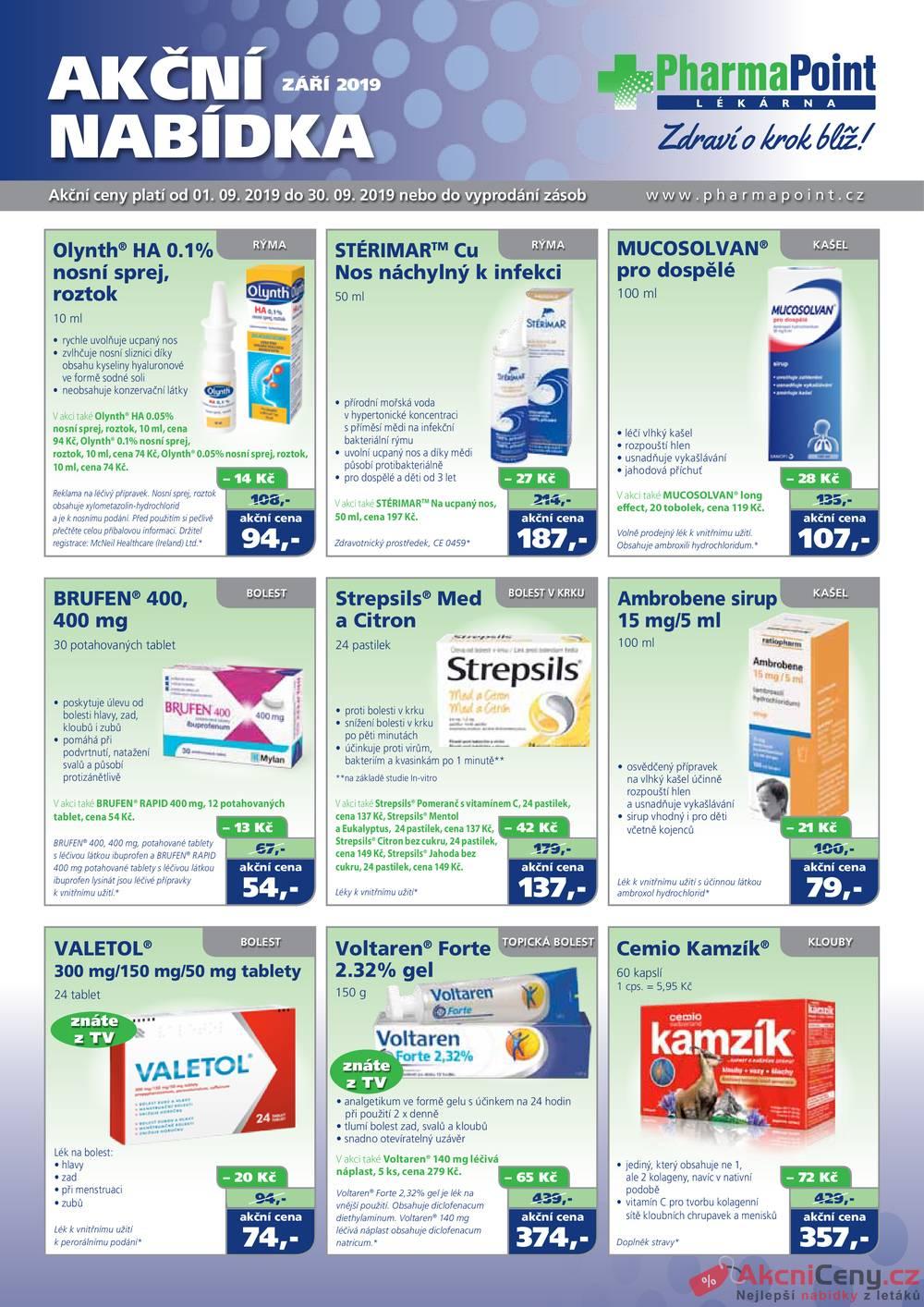 Leták PharmaPoint  - Pharma Point typ A od 1.9. do 30.9.2019 - strana 1