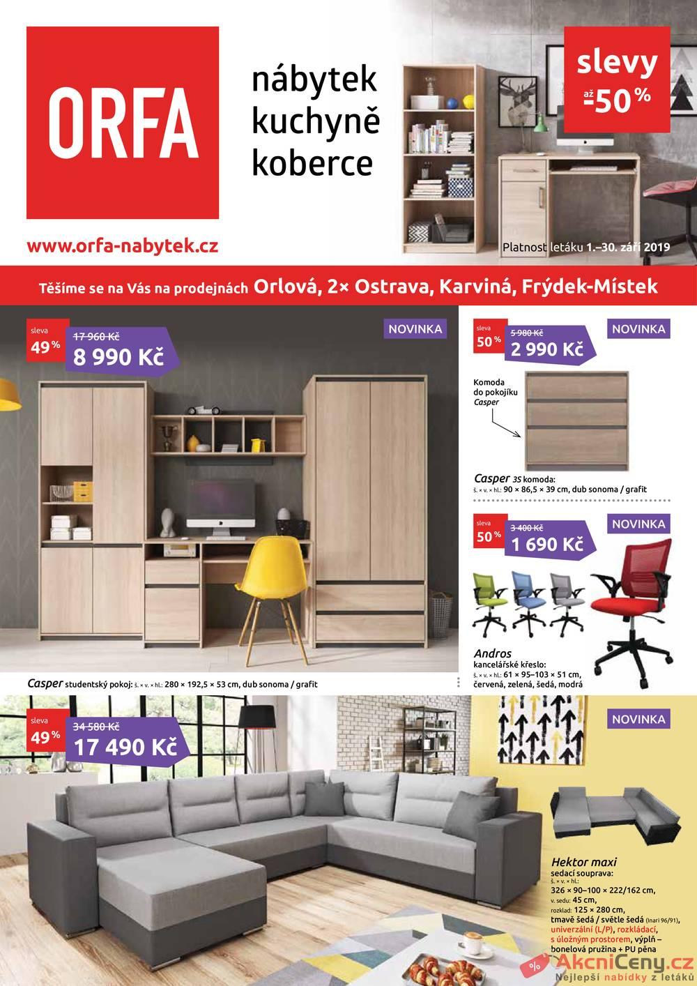 Leták Orfa Nábytek - Orfa Nábytek od 1.9. do 30.9.2019 - strana 1