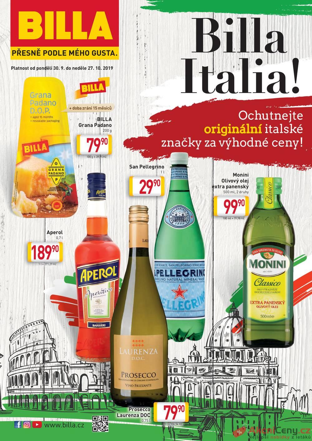 Leták Billa - Billa katalog Itálie od 30.9. do 27.10.2019 - strana 1
