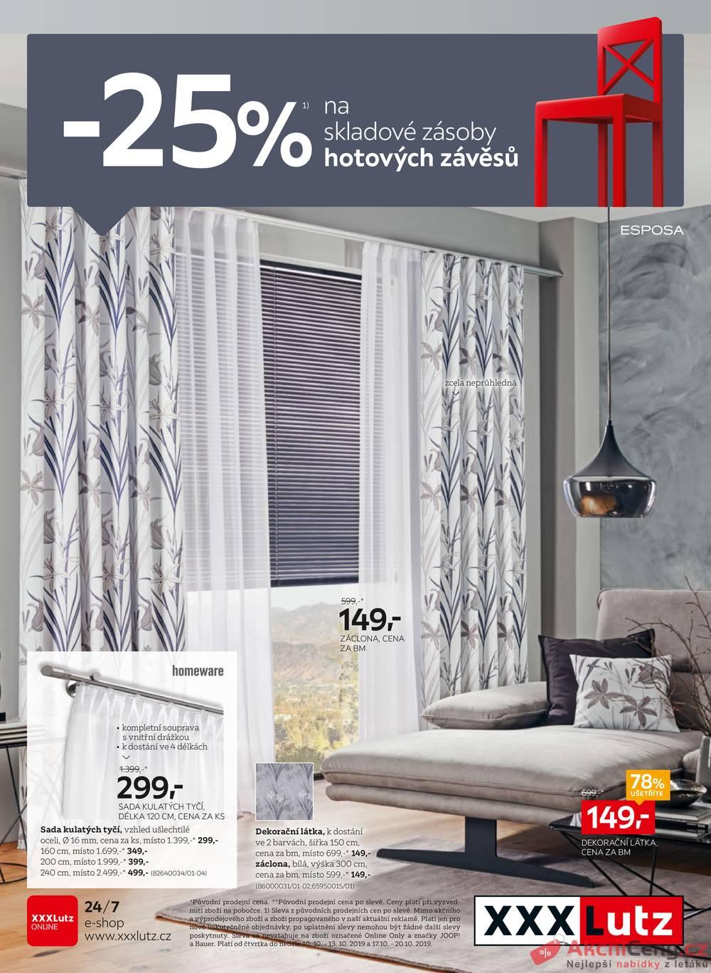 Leták XXXLutz - XXXLutz Závěsy od 7.10. do 20.10.2019 - strana 1