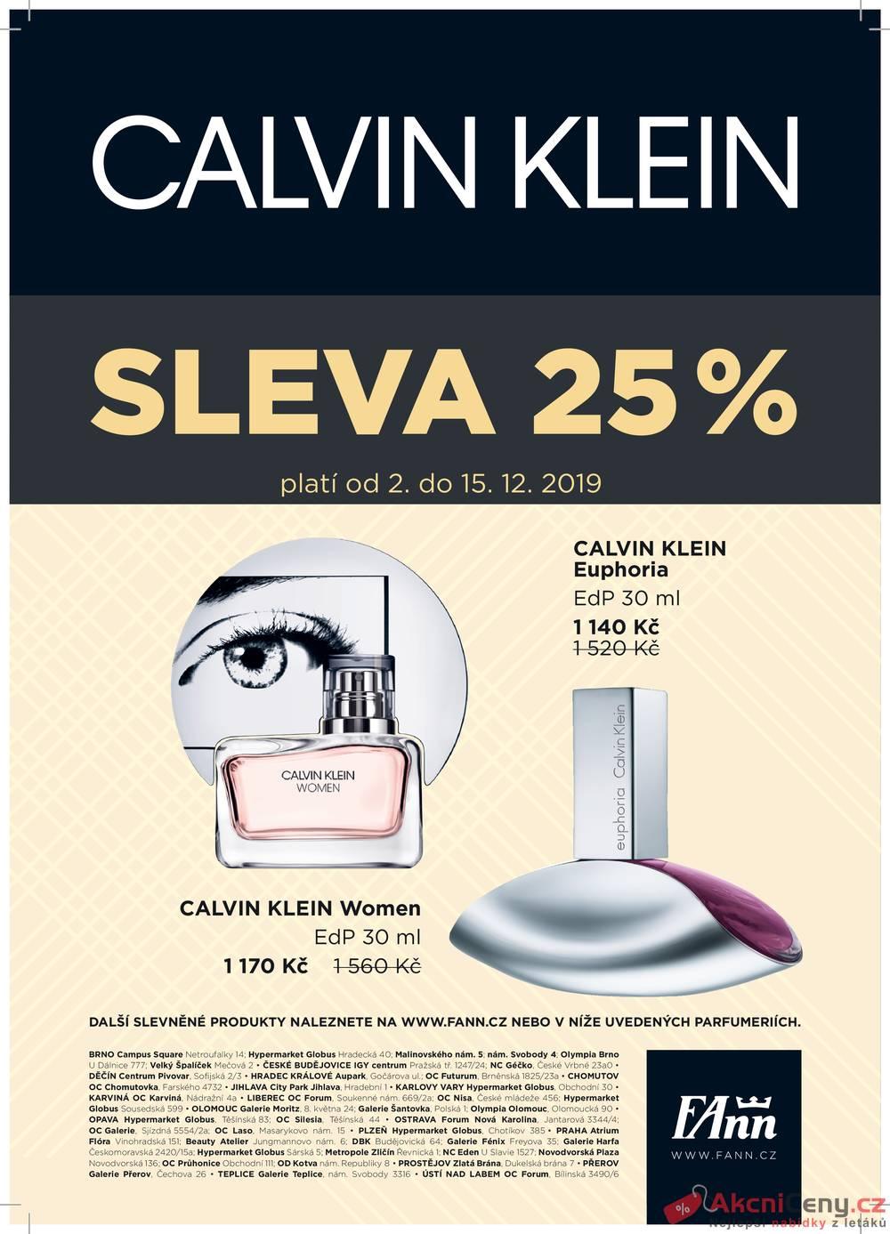 Leták FAnn parfumerie - FAnn Calvin Klein do 15.12. - strana 1