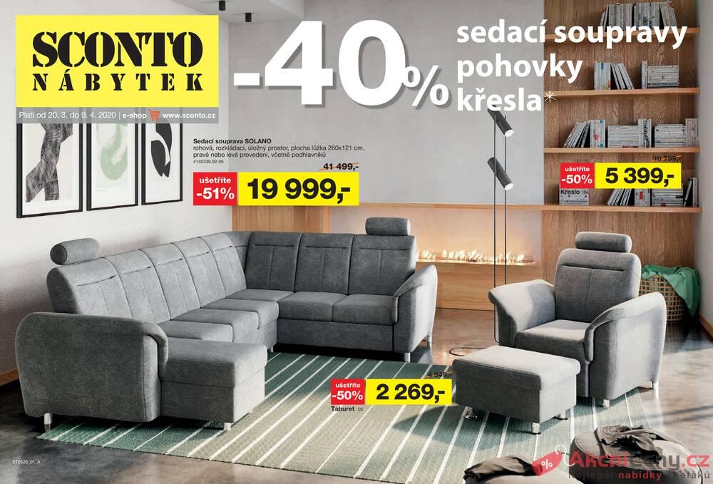 Leták Sconto nábytek - Sconto nábytek od 20.3. do 9.4.2020 - strana 1