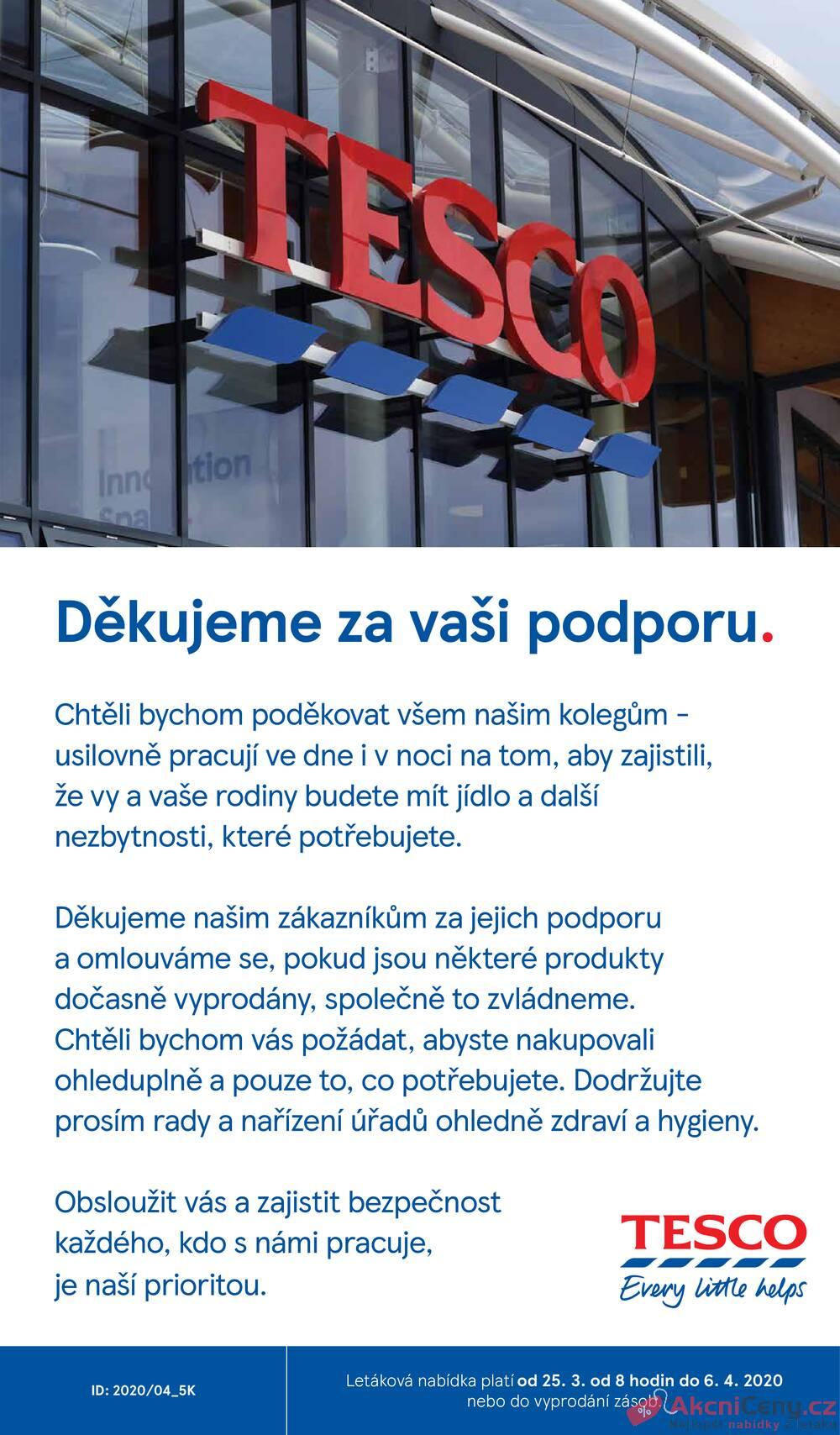 Leták Tesco - Tesco malé hypermarkety od 25.3. do 6.4.2020 - strana 1
