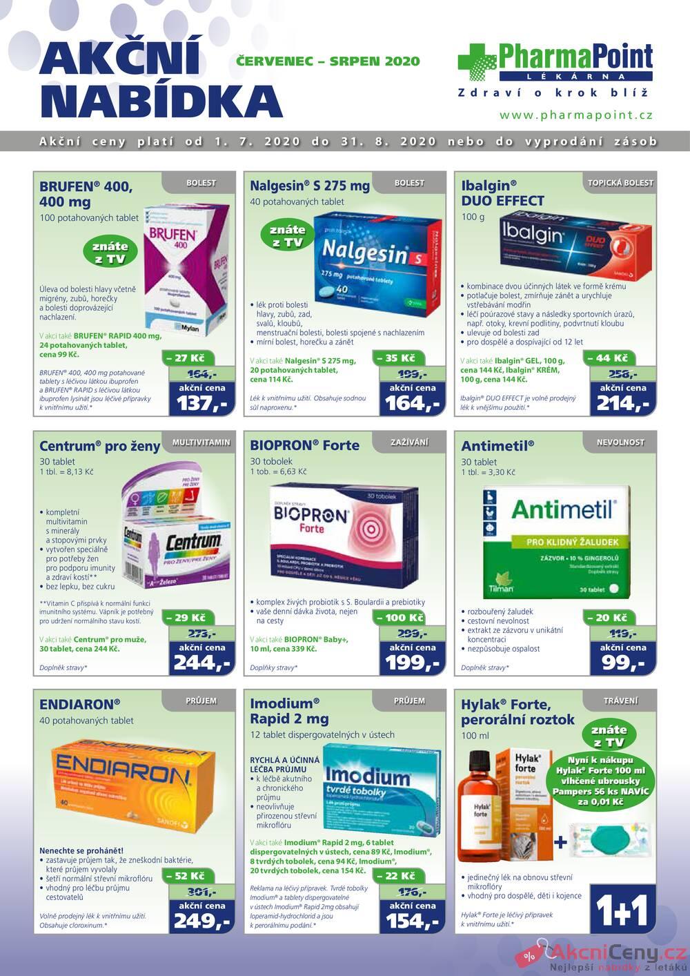 Leták PharmaPoint  - Pharma Point bez přepisu od 1.7. do 31.8.2020 - strana 1