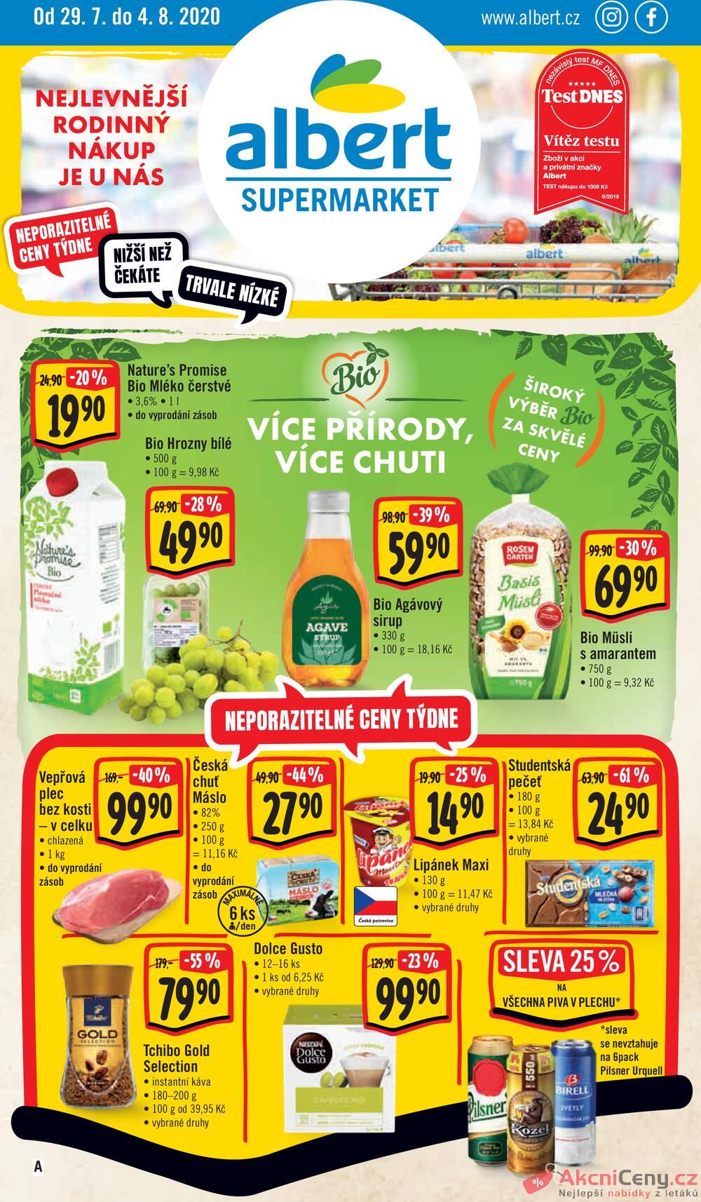 Leták Albert - Albert Supermarket od 29.7. do 4.8.2020 - strana 1