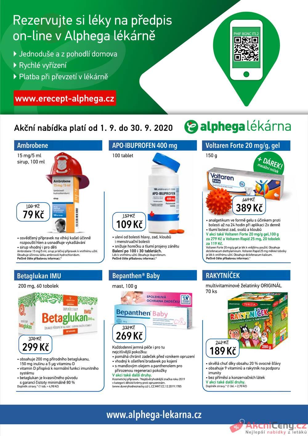 Leták Alphega Lékárna - Alphega Lékárna od 1.9. do 30.9.2020 - strana 1