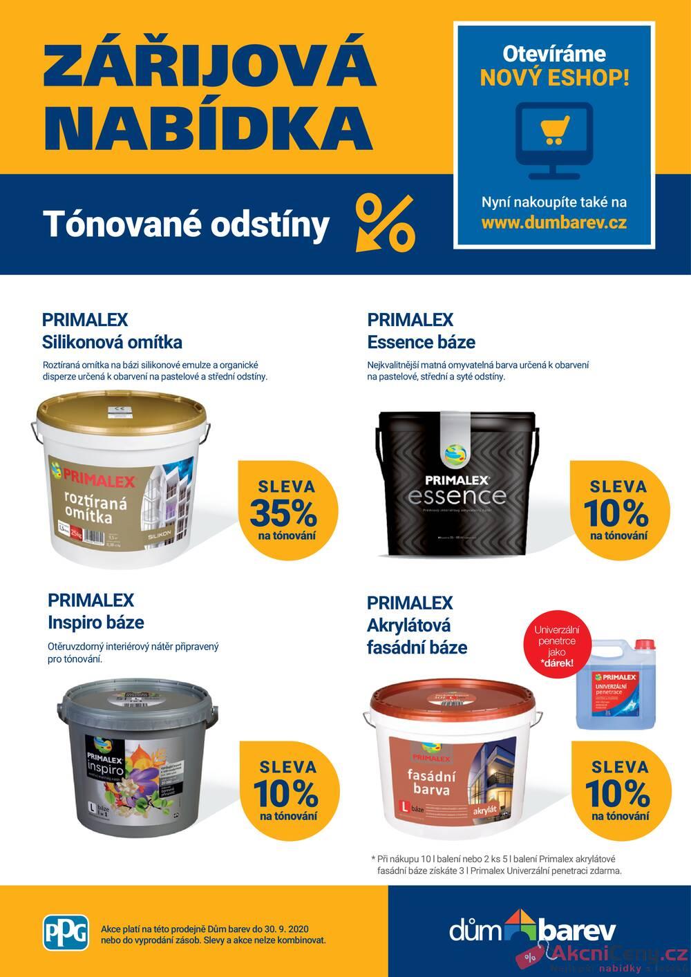 Leták Dům barev - Dům barev od 1.9. do 30.9.2020 - strana 1