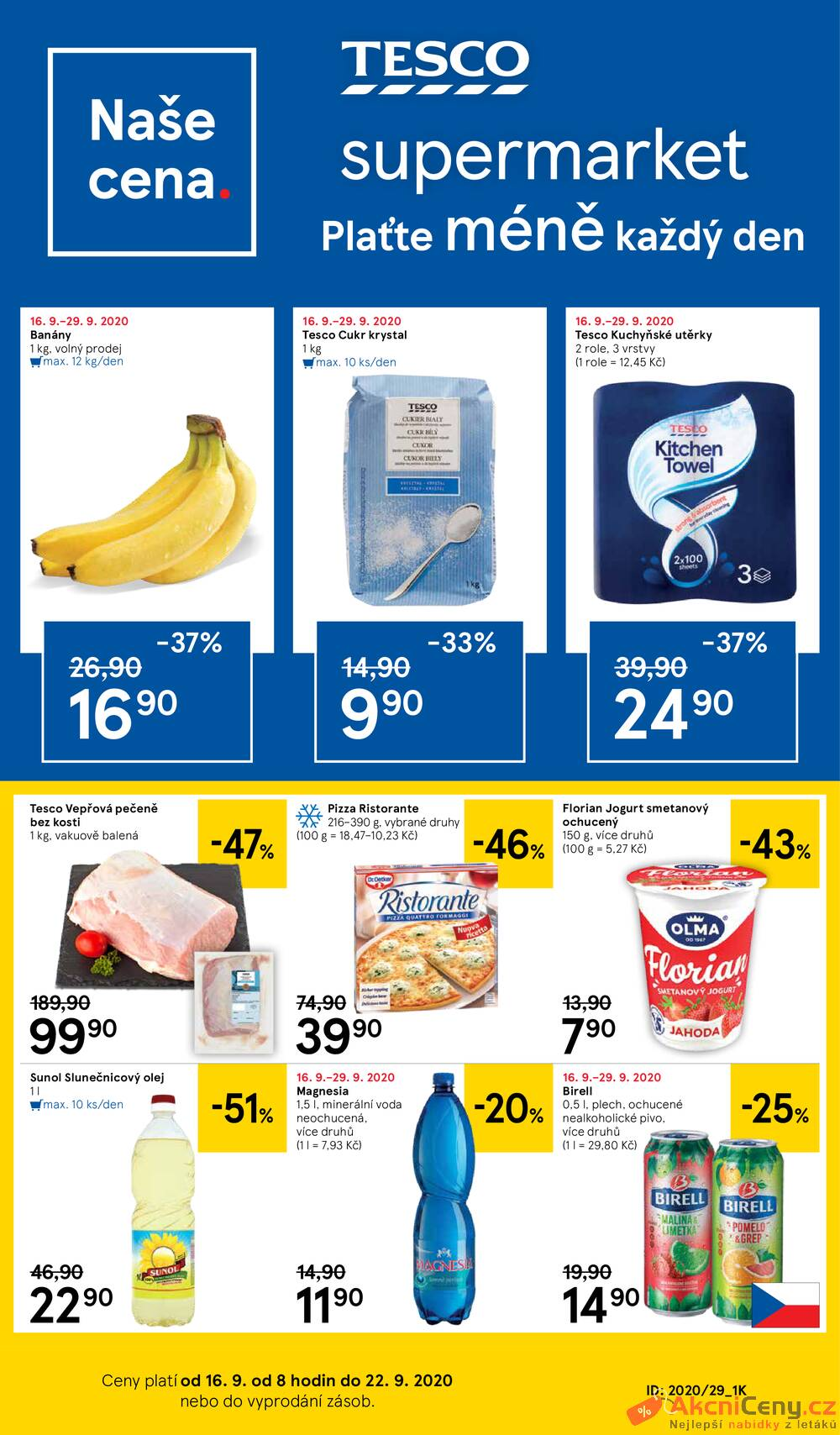 Leták Tesco - Tesco supermarkety od 16.9. do 22.9.2020 - strana 1