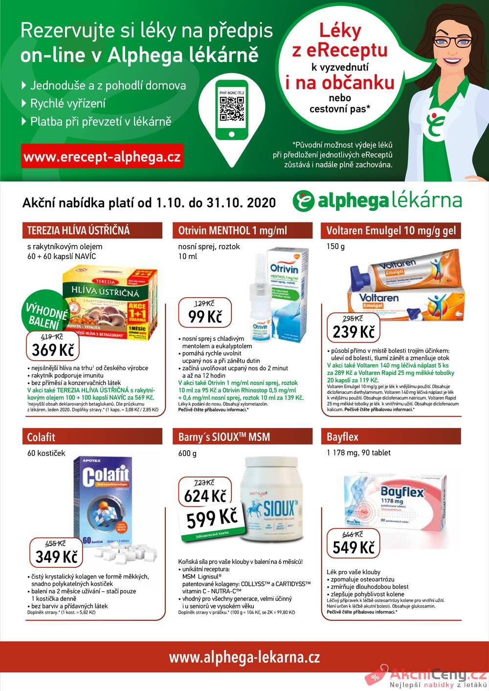 Leták Alphega Lékárna - Alphega Lékárna od 1.10. do 31.10.2020 - strana 1