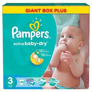 Pampers Active Baby-Dry Dětské jednorázové pleny 3 midi 126 ks