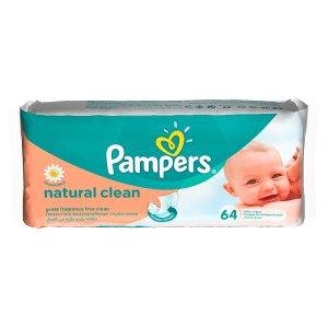 Pampers Vlhčené Ubrousky Naturally Clean 64 ks