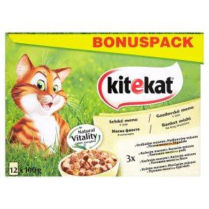 Kitekat v želé kompletní krmivo pro dospělé kočky 12 x 100g, vybrané druhy