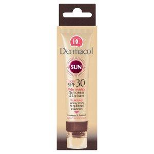 Dermacol Sun Voděodolný pleťový krém na opalování 30ml a balzám na rty SPF 30 3,2g