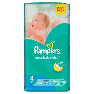 Pampers Active Baby-Dry Dětské jednorázové pleny 4 maxi 58 ks