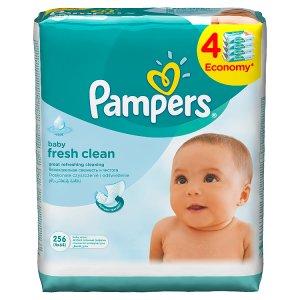 Pampers Vlhčené Ubrousky Baby Fresh Clean 4 x 64 ks