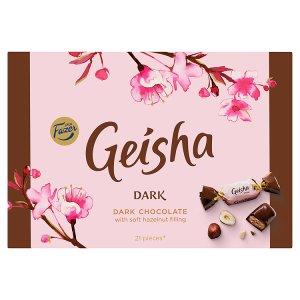 Fazer Geisha Hořké čokoládové bonbony s náplní z lískových oříšků a nugátu 150g