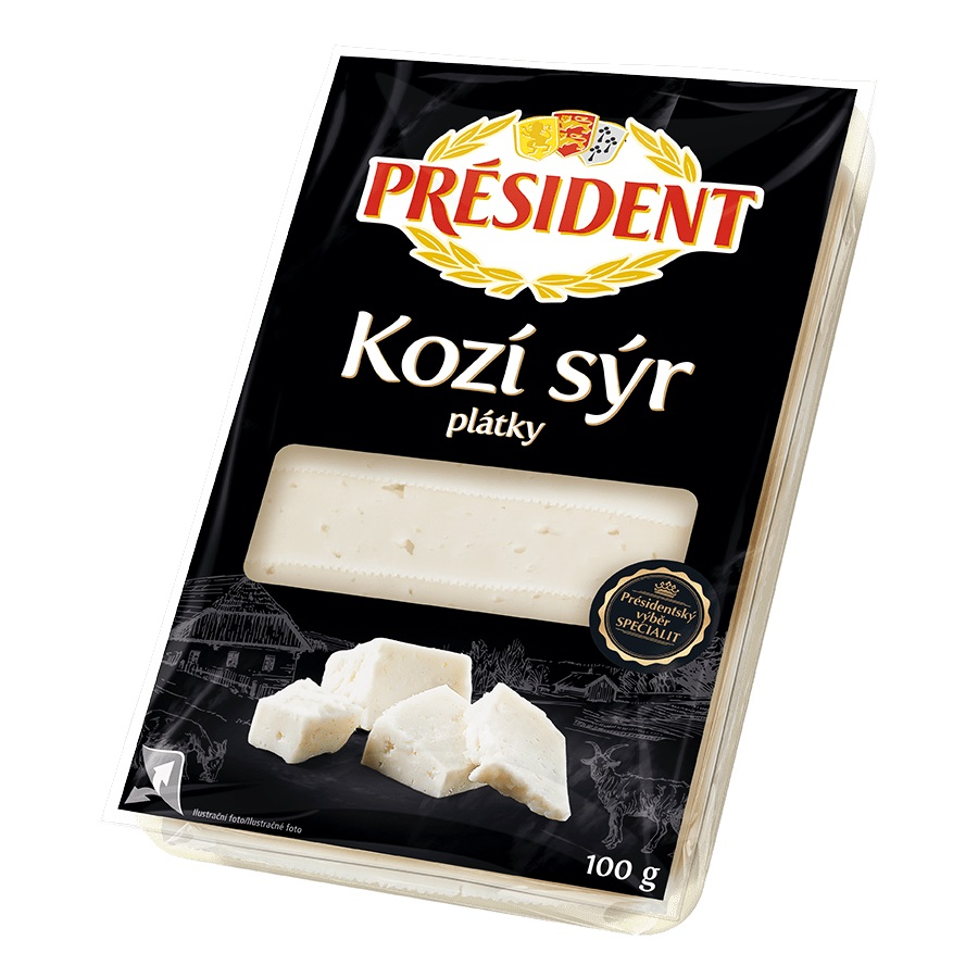 Président kozí sýr plátky 100g