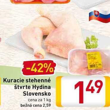 Kuracie stehenné štvrte Hydina Slovensko cena za 1 kg