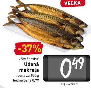 Údená makrela cena za 100 g